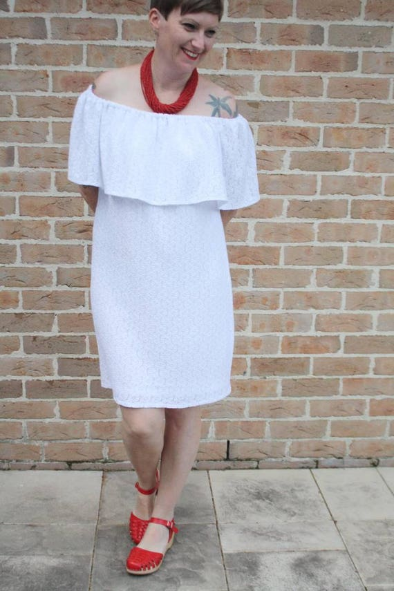 ade5139f57 Off shoulder white lace summer dress. Perfect frock for