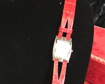 Quartz Watch with Red Leather Band