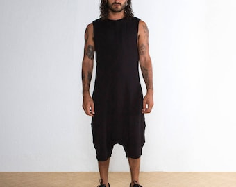 91921e41bae Mens Black Onesie - Mens Black Shorts - Mens Jumpsuit Black - Mens Low  Crotch Shorts - Oversized Romper - Rave Outfit
