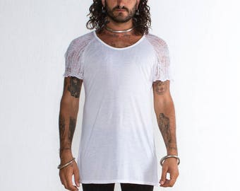 093524757 Mens White Tshirt - Mens Shredded White T-shirt - Deconstructed Top - White  Mens Top - Shredded White Top