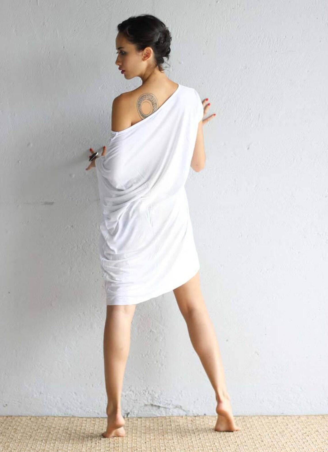 Off The Shoulder Dress Asymmetric White Tshirt Dress Etsy