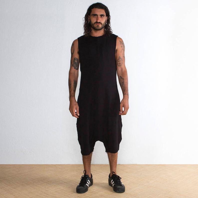 ee83d32b87c8 Mens Black Onesie Mens Black Shorts Mens Jumpsuit Black