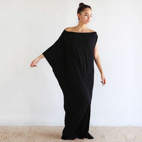Boho Dress Maxi Dress Black Caftan Caftan Beach Cover Up Black Long Dress Black Kaftan Dress