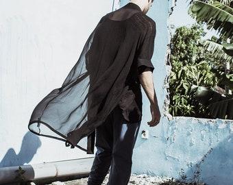 Mens Kimono, Mens Silk Kimono, Mens Robe, Black Silk Kimono, Black Kimono, Mens Festival Fashion, Mens Dress, Mens Wear, Transparent Dress