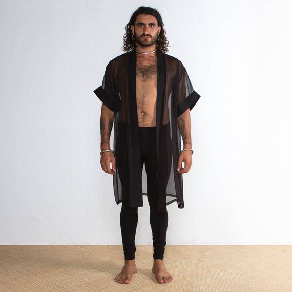 Mens Kimono Mens Silk Kimono Mens Robe Black Silk Kimono Etsy