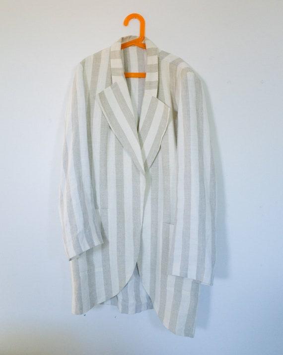 80s Linen Cream Striped Open Jacket