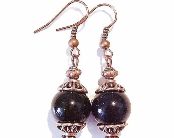 Black Onyx Gemstone & Antique Copper Earrings