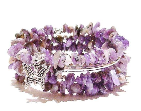 Purple Charoite Gemstone Memory Wire Cuff/Wrap Bangle