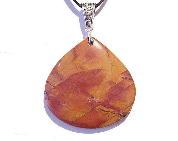 Brown / Red Gemstone Picasso Jasper Tear Drop Pendant