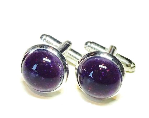 Blackberry Purple Handmade Dichroic Fused Glass Cufflinks