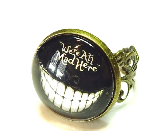 We're All Mad Here Cheshire Cat Glass Cameo Ring - Antique Brass