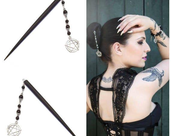 Gothic Black Wood Hair Stick w Black Onyx & Pentagram