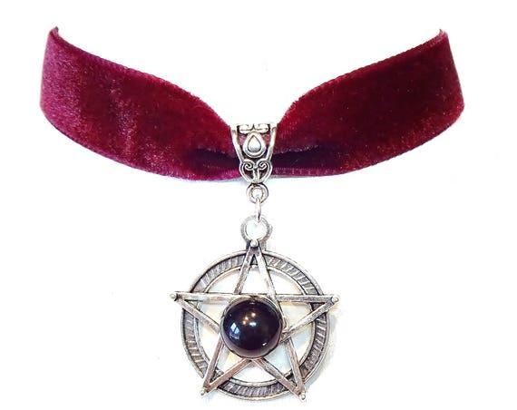 Merlot Red Velvet Choker Necklace w Black Onyx & Pentagram