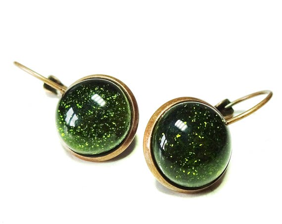 Olive Green & Antique Copper Dichroic Glass Lever Back Earrings