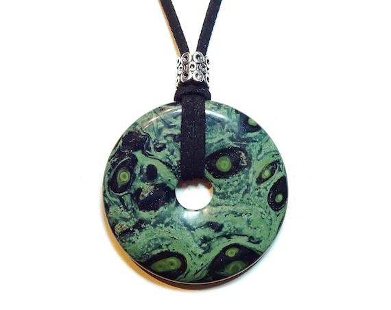Green & Black Kambaba Jasper Large Round Gemstone Pendant - 50mm