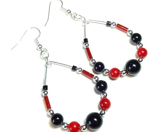 Black Onyx & Red Coral Gemstone Hoop Earrings