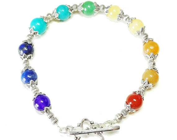 Semi-precious Gemstone Rainbow Chakra / Meditation Bracelet 21cm