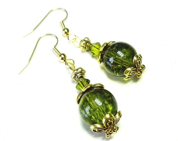 Olive Green Cracked Glass, Antique Gold & Swarovski Crystal Earrings