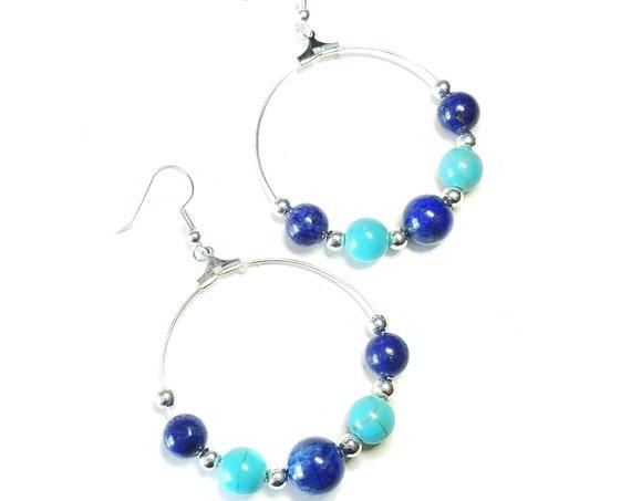 Blue Lapis Lazuli & Turquoise Gemstone Hoop Earrings 40mm