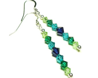 cbbf53377 Dark Indigo, Green and Blue Swarovski Crystal & Sterling Silver Drop  Earrings