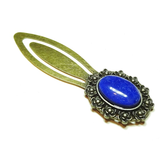 Blue Lapis Lazuli Semi-precious Gemstone Brass Clip Bookmark