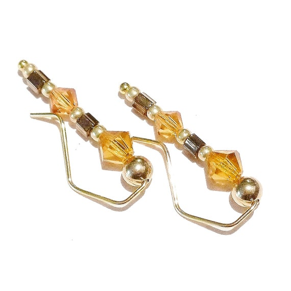 "Yellow, Bronze & Gold Earrings / Ear Pins / Ear Vines w/ Swarovski Crystals 7/8"""