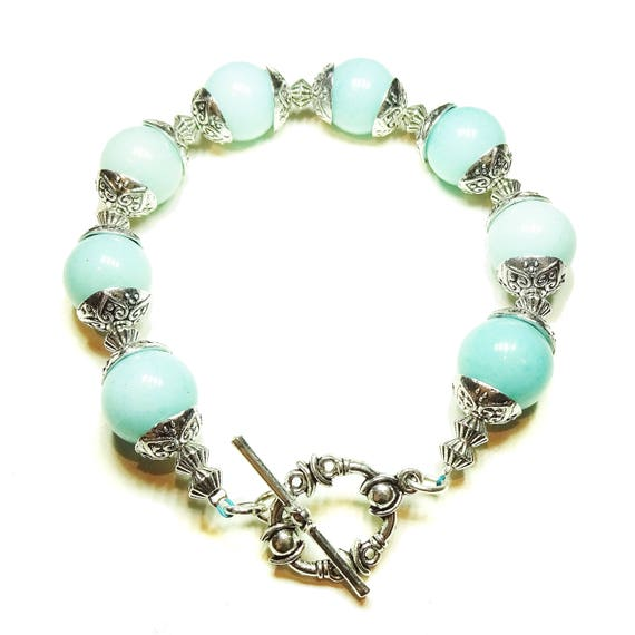 Blue Aqua Mountain Jade Gemstone & Tibetan Silver-tone Bracelet 20.5cm