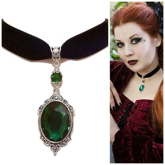 Tarja Green Crystal & Black Velvet Gothic Choker Necklace