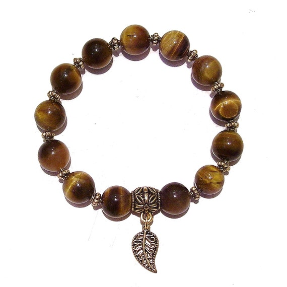Brown Tiger's Eye Gemstone & Antique Gold Stretch Bracelet - 21cm