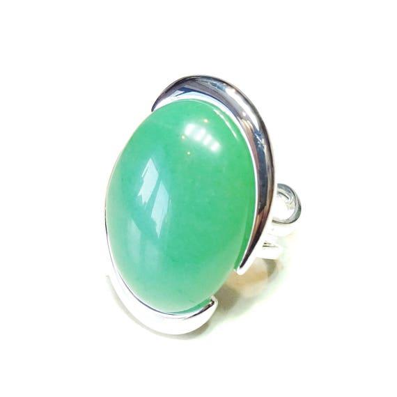 Green Aventurine Large Cut Out Gemstone Ring - Adjustable