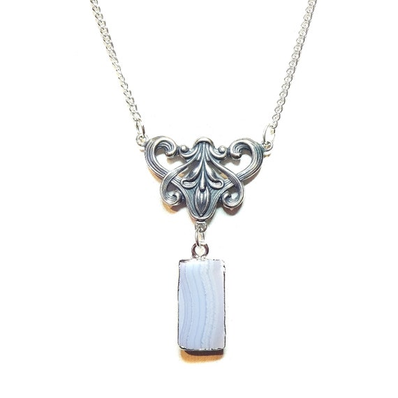 Blue Lace Agate Gemstone Filigree Necklace