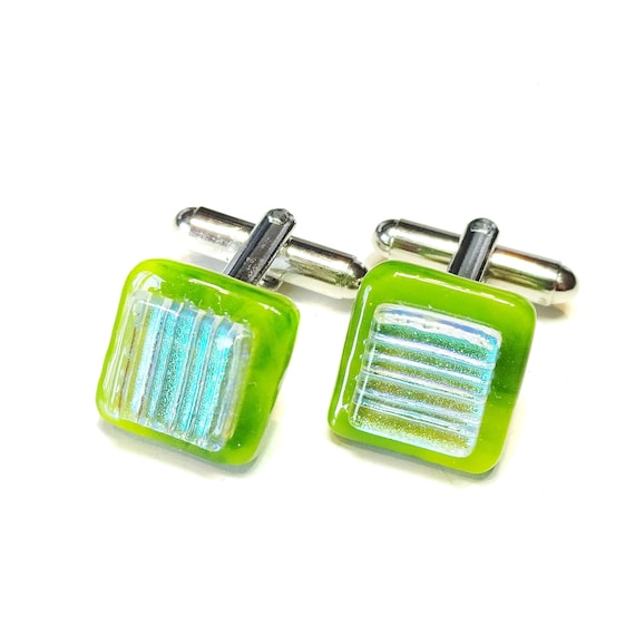 Green Square Handmade Fused Glass Cufflinks