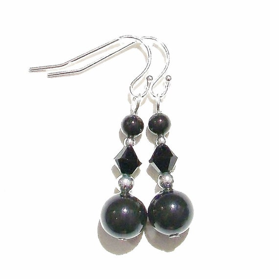 Jet Black Classic Swarovski Pearl, Crystal and Sterling Silver Earrings