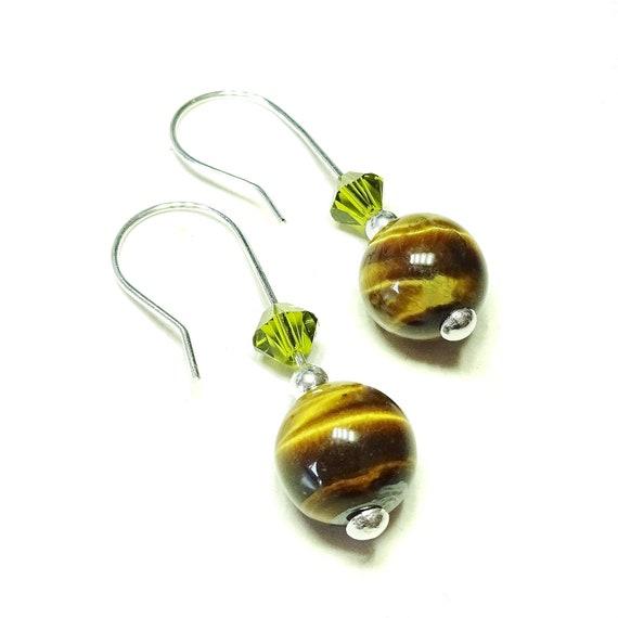 Brown Tiger's Eye Gemstone, Green Swarovski Crystal & Sterling Silver Drop Earrings