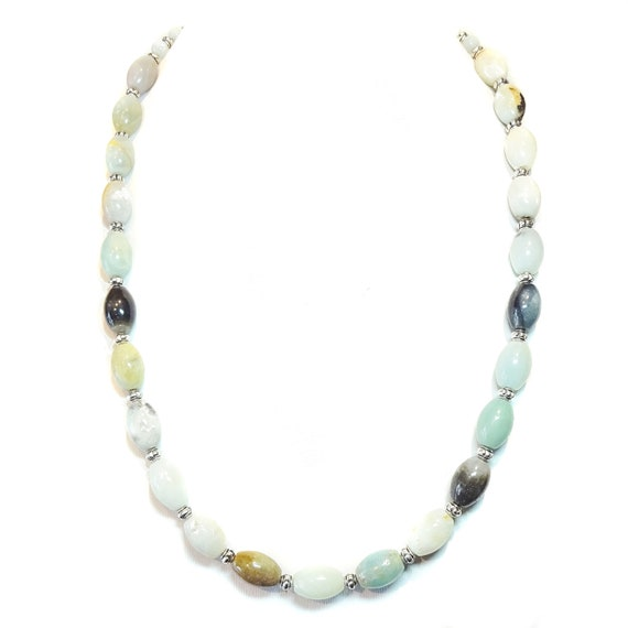 Natural Blue Amazonite Semi-Precious Gemstone Necklace - 23 inches