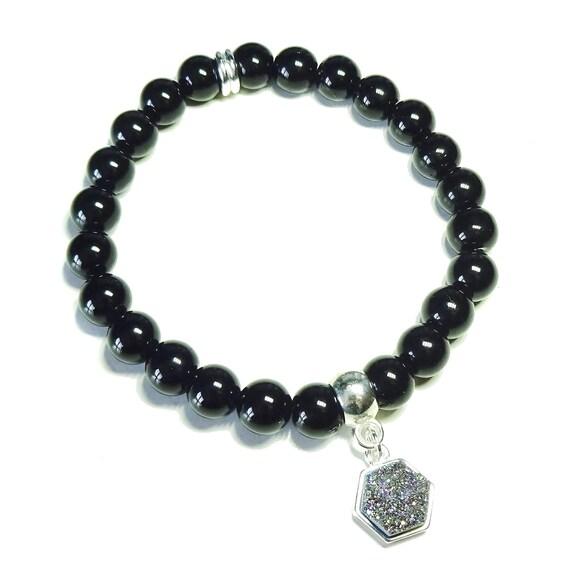 Black Onyx Gemstone Aura Druzy Charm Bracelet - Ap. 19cm