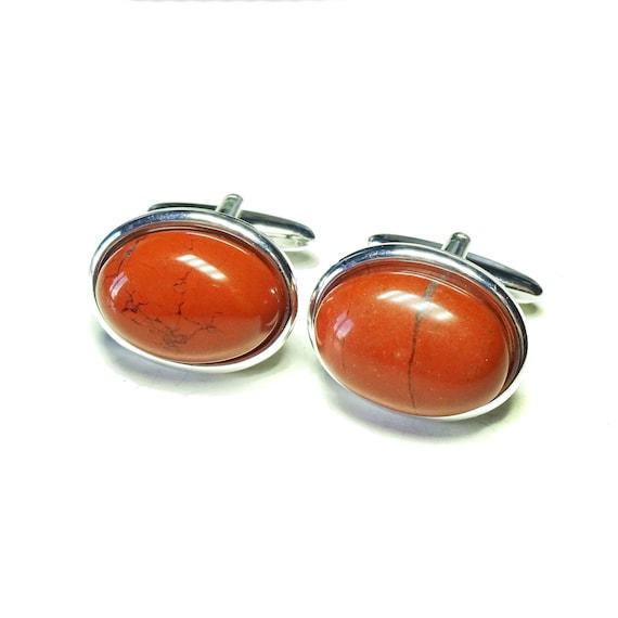 Red Jasper Semi-precious Gemstone Cufflinks - Angled