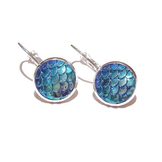 Mermaid / Dragon Scale Lever Back Earrings - Blue