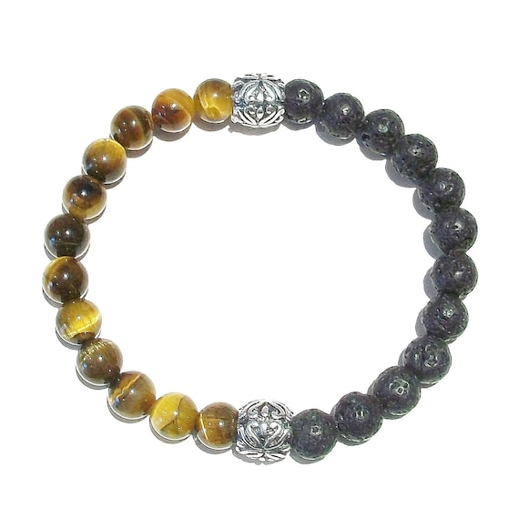 Black & Brown Men's / Women's Gemstone Essential Oil Diffuser Bracelet - Lava / Brown Tiger's Eye