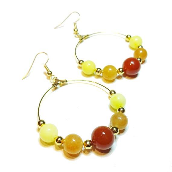 Gold Plated Gemstone Hoop Earrings w/ Carnelian, Lemon Jade & Red Aventurine