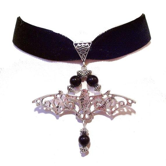 Velvet Gothic Bat Choker Necklace w Black Onyx