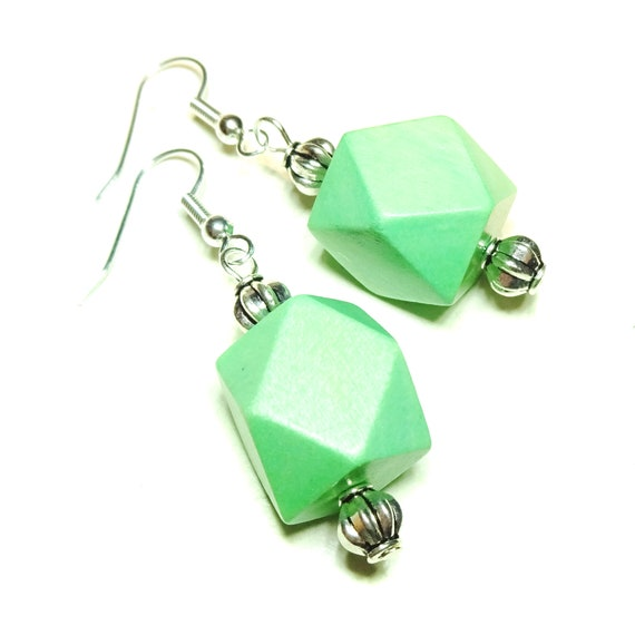Spring Green Geometric Handcrafted Wood Earrings