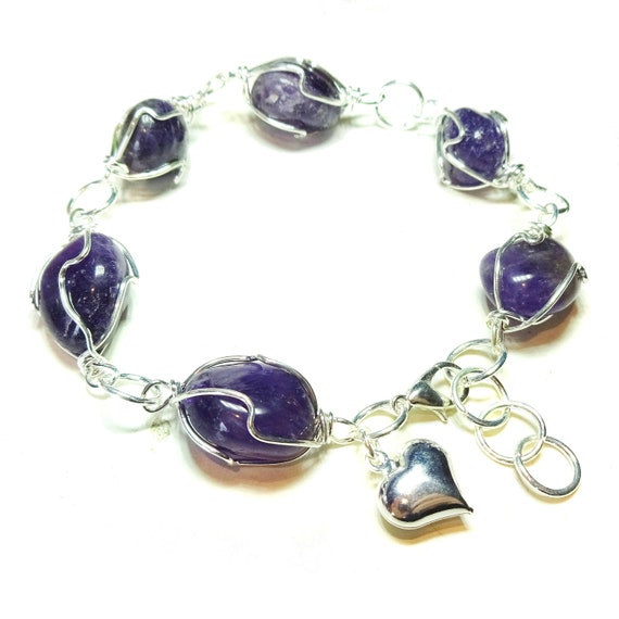 Purple Amethyst Freeform Gemstone Caged Bracelet