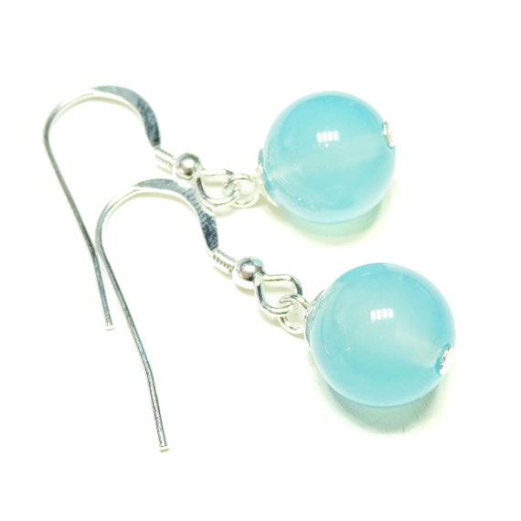 Blue Chalcedony & Sterling Silver Gemstone Ball Drop Earrings -  10mm