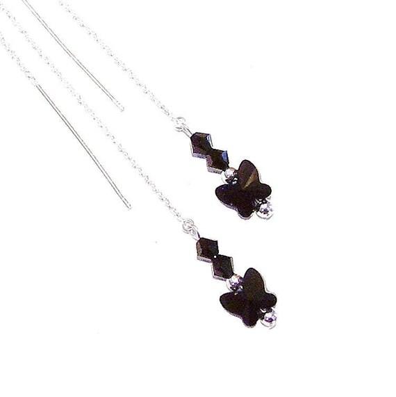 Black Swarovski Butterfly & Sterling Silver Long Drop Chain Ear Threads - 174mm