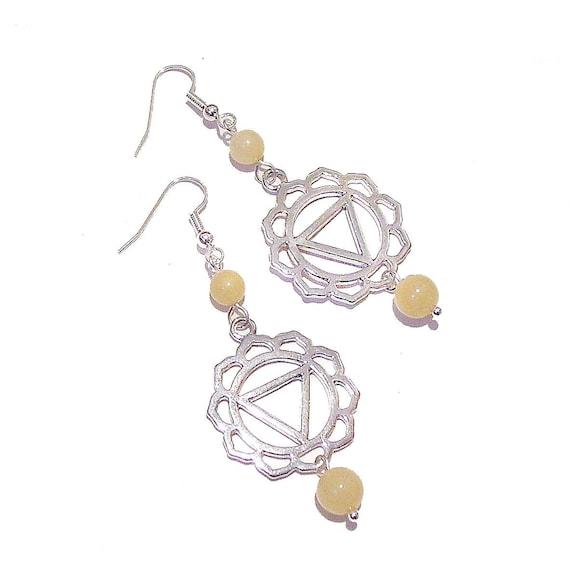 Semi-precious Gemstone Solar Plexus / Manipura Chakra Earrings - Honey Quartz