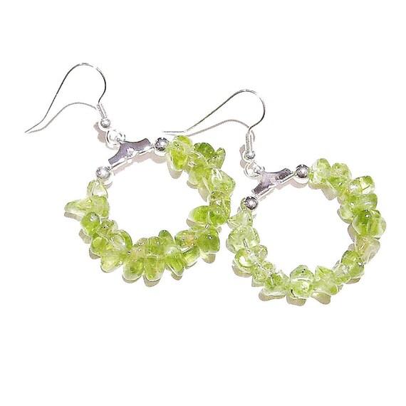 Green Peridot Gemstone Chip Hoop Earrings 25mm