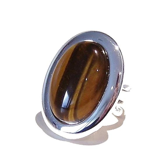 Large Brown Tiger Eye Gemstone Ring - Adjustable 33 x 25mm