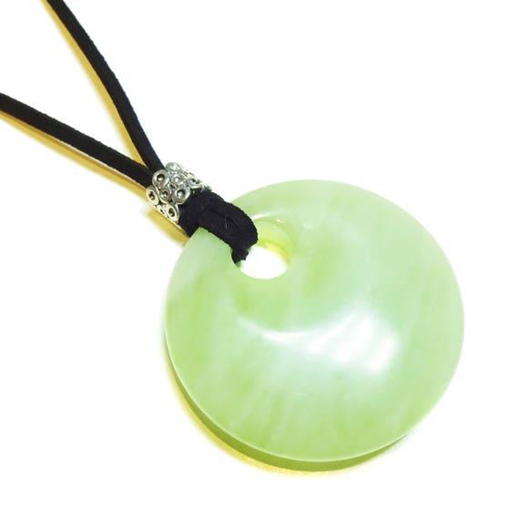 New Green Jade Large Round Gemstone Pendant - 50mm