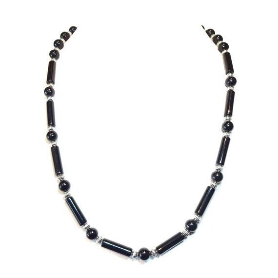 Black Onyx Semi-Precious Gemstone Necklace - 22.5 inches